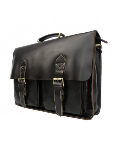 Фотография Гладкий коричневый мужской кожаный портфель 77105c