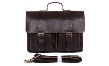 Коричневый портфель мужской, кожаный 77105q-1