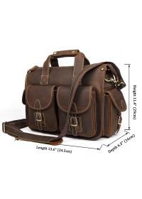 Мужской кожаный портфель - сумка коричневая 77106