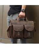 Фотография Мужской кожаный портфель - сумка коричневая 77106