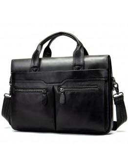 Черная кожаная мужская сумка для документов 77122-A11 Black