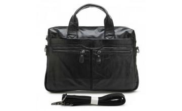Кожаная мужская сумка черного цвета глянцевая 77122A