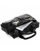 Фотография Кожаная мужская сумка черного цвета глянцевая 77122A