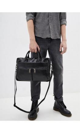 Мужская кожаная деловая сумка, черная 77122A-5
