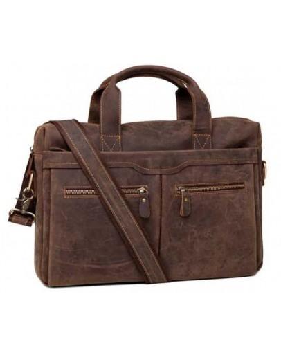 Фотография Коричневая мужская деловая сумка матовая 77122R-1