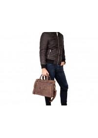 Коричневая мужская деловая сумка матовая 77122R-1