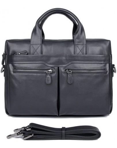 Фотография Сдержанный и модный мужской кожаный портфель 77122A-1