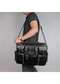 Удобная кожаная мужская вместительная сумка 77028A