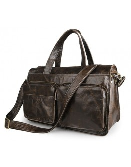 Вместительная мужская сумка темно-коричневого цвета 77138Q