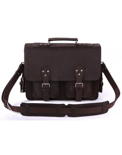 Фотография Тёмно-коричневый мужской кожаный портфель 77145r