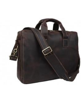 Кожаная коричневая мужская вместительная сумка 77167R