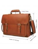 Фотография Мужской рыжий кожаный плотный портфель 77205B