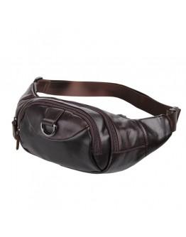 Кожаная сумка на пояс коричневого цвета 77211C