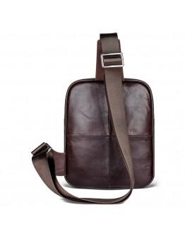 Современный и стильный темно-коричневый кожаный рюкзак 77215
