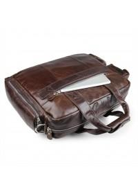 Кожаная коричневая мужская вместительная сумка 77219C-3С