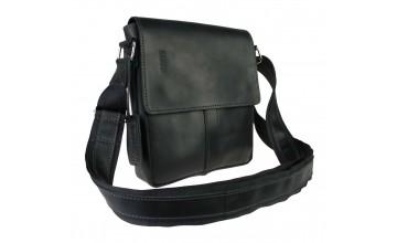 Кожаная небольшая черная сумка на плечо 77225-SKE