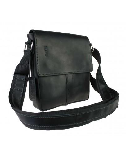 Фотография Кожаная небольшая черная сумка на плечо 77225-SKE