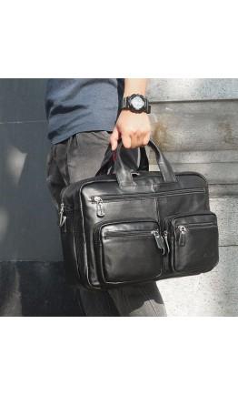 Чёрная сумка из натуральной кожи трансформер 77231a