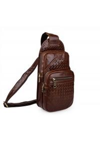 Мужской кожаный рюкзак коричневый на плечо 77250B
