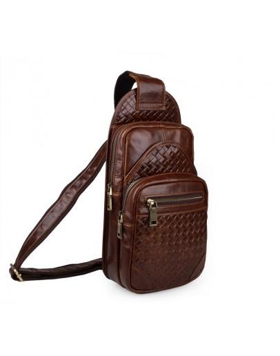 Фотография Мужской кожаный рюкзак коричневый на плечо 77250B
