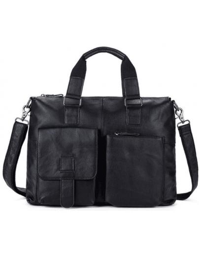 Фотография Кожаная чёрная мужская мягкая сумка 77264a