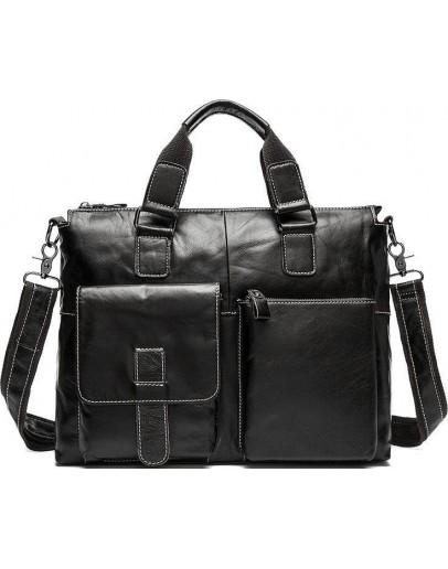 Фотография Мужская черная сумка деловая кожаная 77264AW