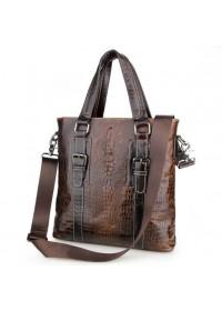 Коричневая кожаная мужская сумка с тиснением 77265