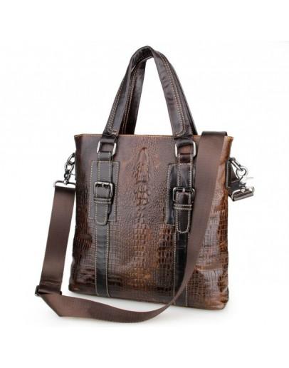 Фотография Коричневая кожаная мужская сумка с тиснением 77265