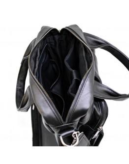 Черная кожаная сумка в руку и на плечо трансформер Tarwa 77266A2