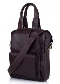 Коричневая кожаная сумка в руку и на плечо трансофрмер 77266C2