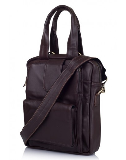 Фотография Коричневая кожаная сумка в руку и на плечо трансофрмер 77266C2