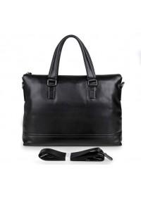 Мужская чёрная кожаная сумка для ноутбука 77277a