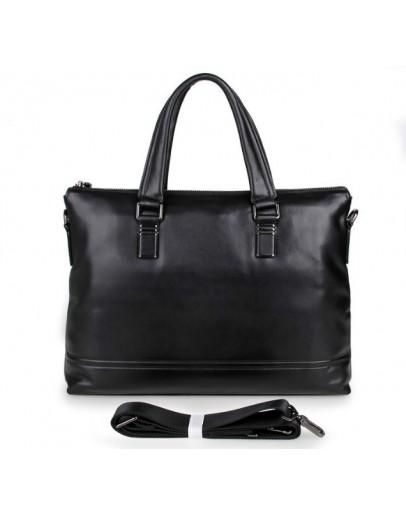 Фотография Мужская чёрная кожаная сумка для ноутбука 77277a