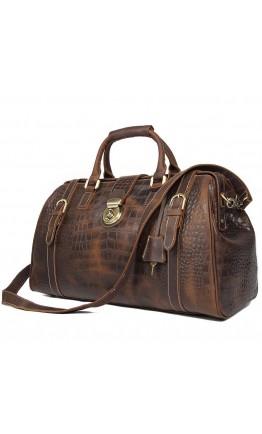 Мужской дорожный коричневый кожаный саквояж 77281B