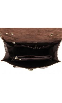 Кожаный коричневый мужской брутальный рюкзак 77283