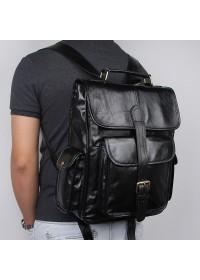 Черный оригинальный мужской кожаный рюкзак 77283A