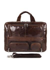 Универсальный вместительный мужской портфель из кожи 77289