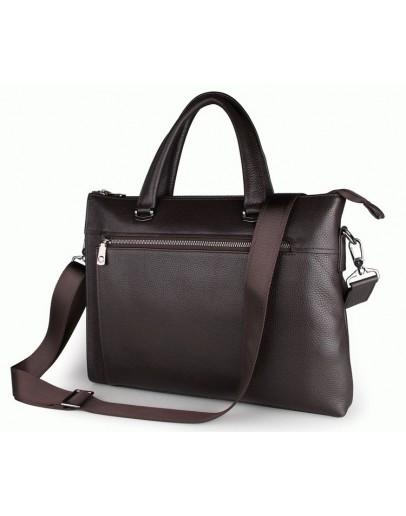 Фотография Классическая мужская коричневая сумка, кожаная 77314Q