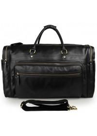 Большая черная дорожная мужская кожаная сумка 77317-1a