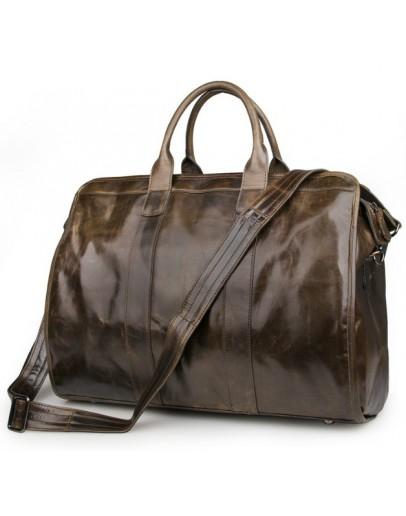 Фотография Большая вместительная дорожная сумка коричневая 77324b
