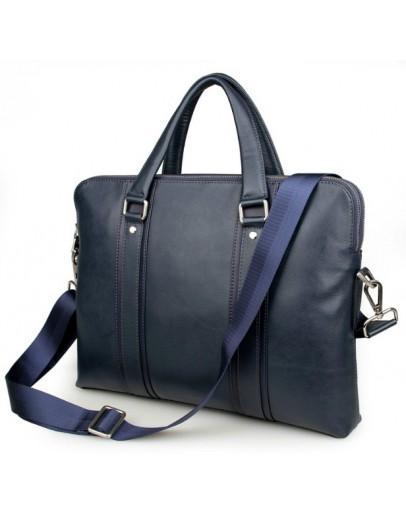 Фотография Синий кожаный мужской деловой портфель 77325