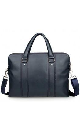 Синий кожаный мужской деловой портфель 77325