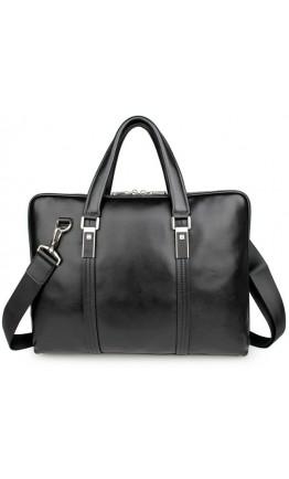 Чёрная кожаная мужская сумка портфель 77326a