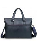 Фотография Синий кожаный мужской портфель для города 77327K