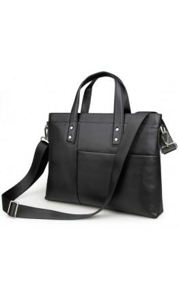 Чёрная кожаная сумка из мягкой кожи 77329a