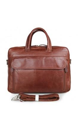 Удобная мужская кожаная сумка, рыже-коричневая 77333b