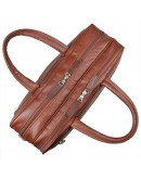 Фотография Удобная мужская кожаная сумка, рыже-коричневая 77333b