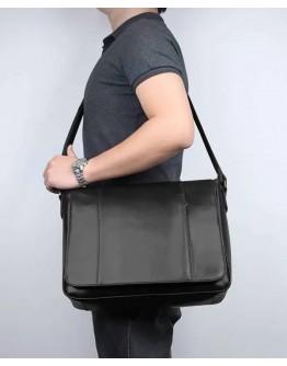 Черная кожаная мужская вместительная сумка на плечо Vintage 77338 AA