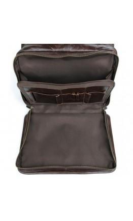 Вместительная мужская кожаная коричневая сумка 77345C