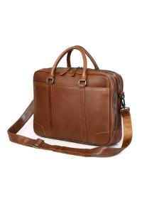 Вместительный стильный кожаный коричневый портфель 77348b